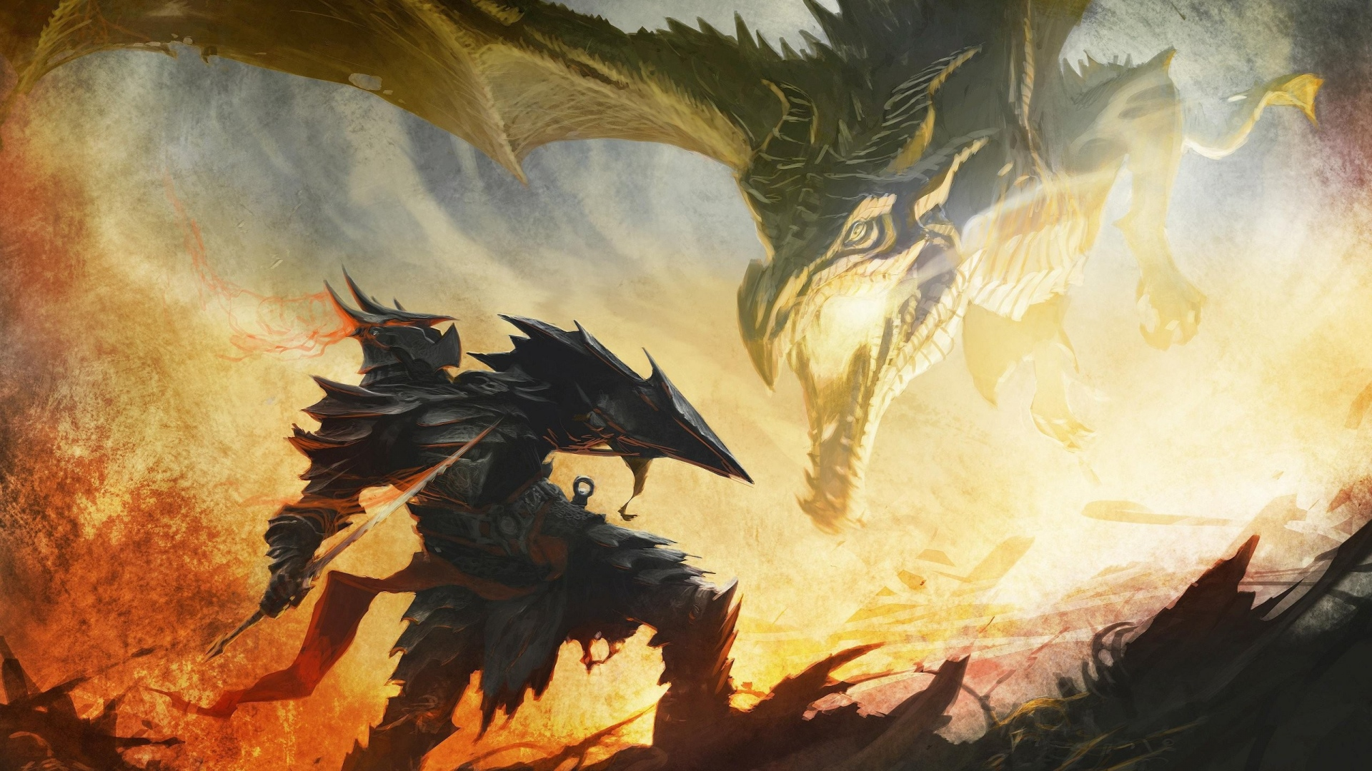 Cool Wallpaper Mountain Dragon - the_elder_scrolls_dragon_warrior_armor_fire_battle_21304_1920x1080  HD_727755.jpg