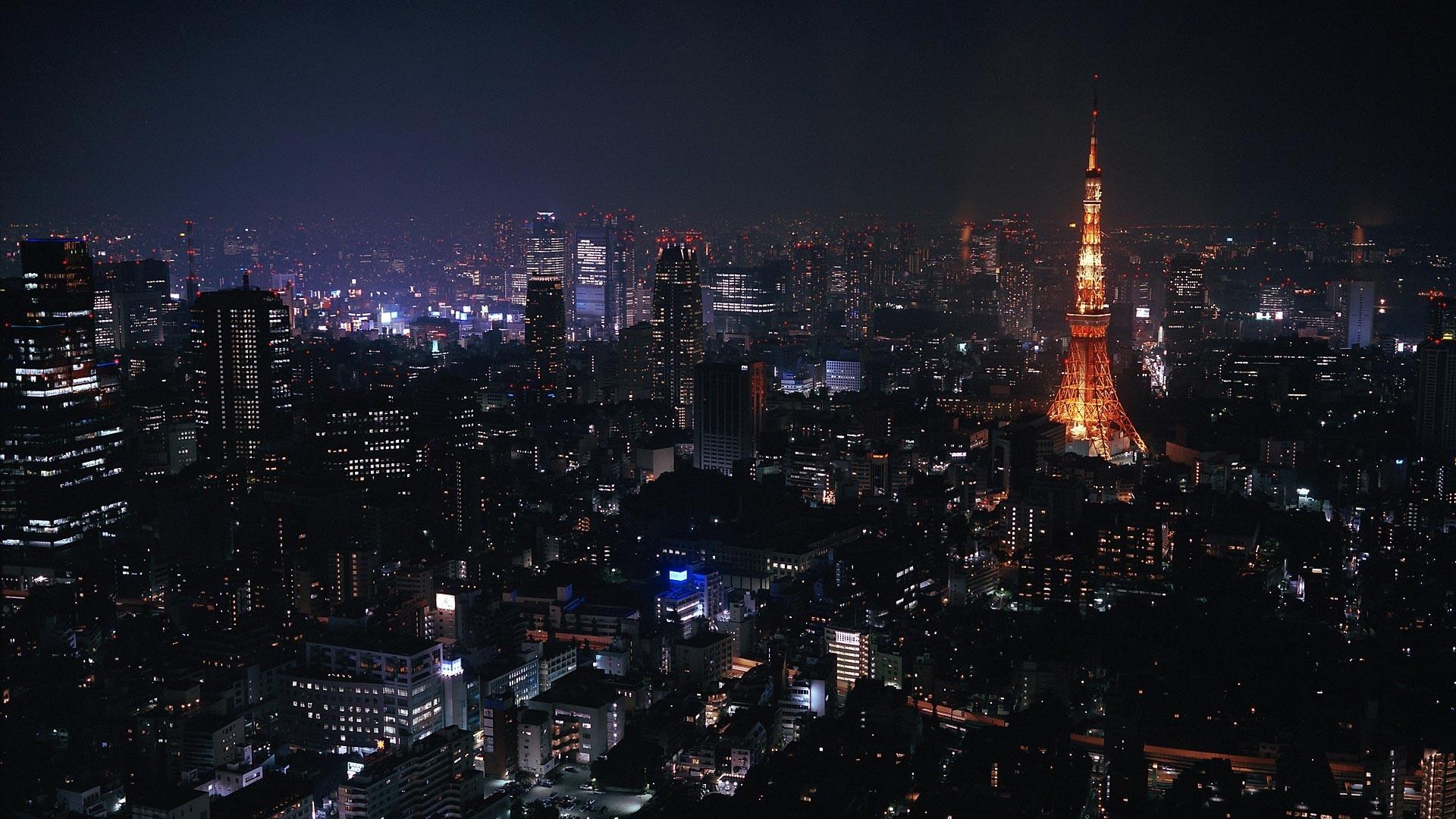 Download Wallpaper 1920x1080 Tokyo Japan City Night Lights Full