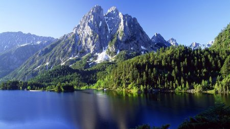 top, mountains, lake