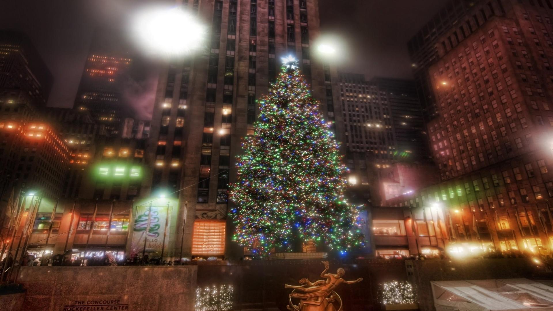 Download Wallpaper 1920x1080 Tree, Street, City, Lights