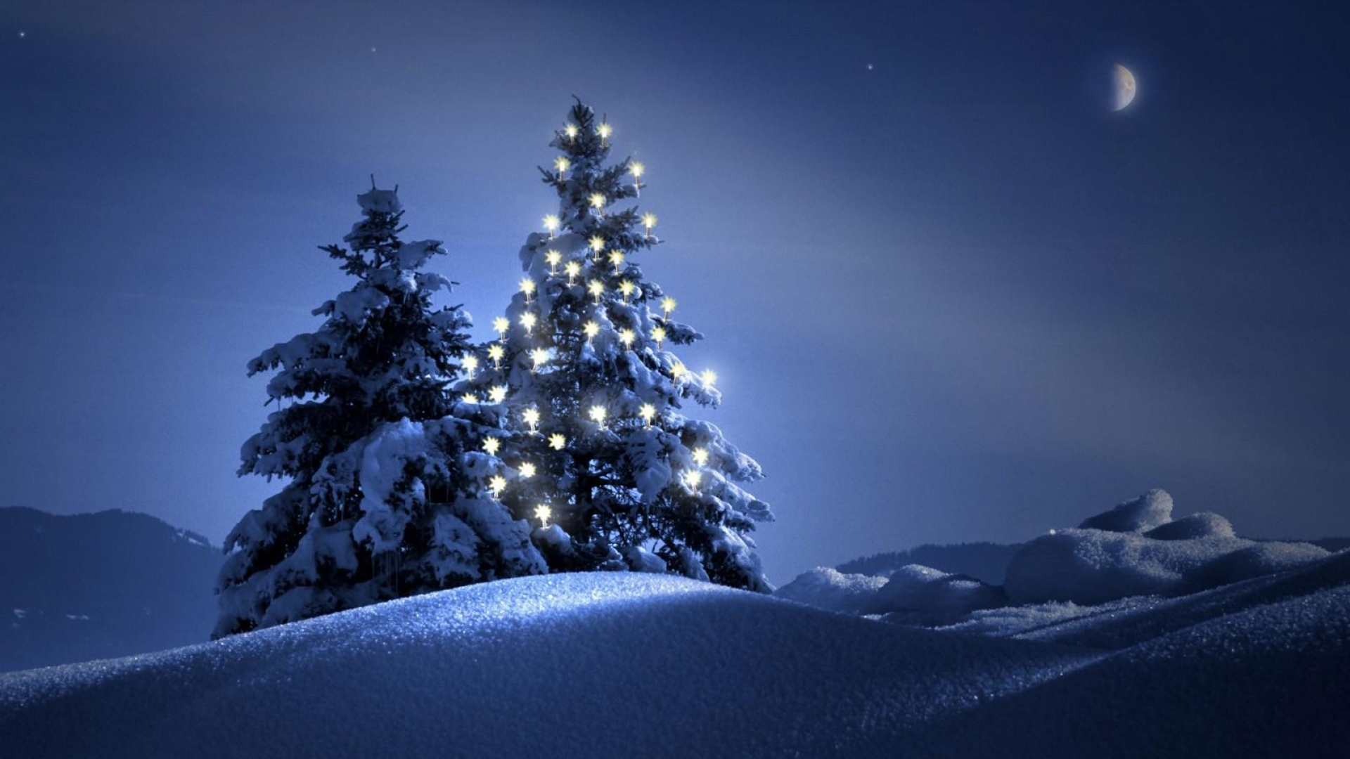 Download Wallpaper 1920x1080 trees, steam, garland, snow, night ...