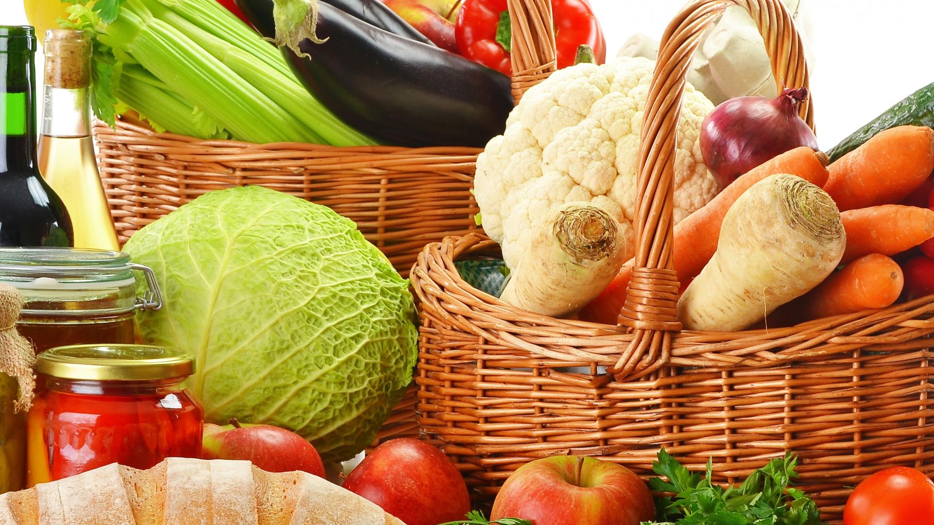 Download Wallpaper 1920x1080 Baskets, Vegetables, Fruit