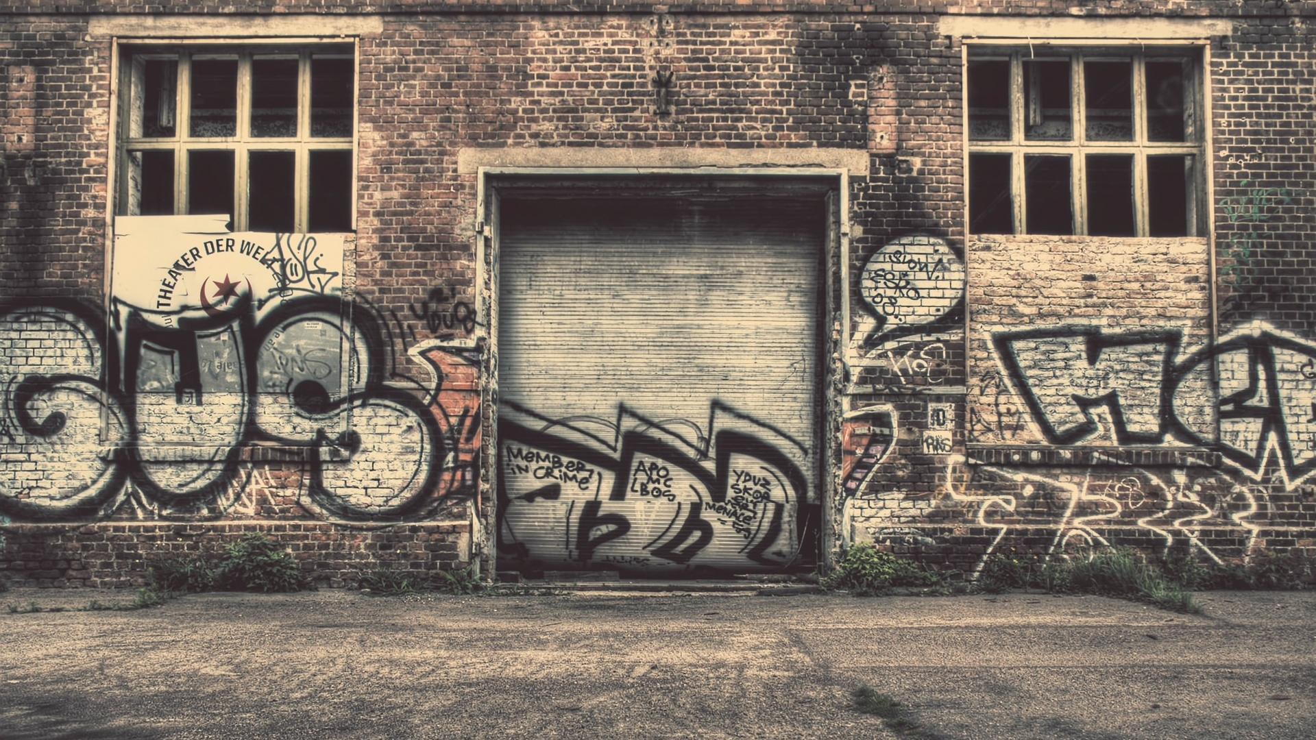 download wallpaper 1920x1080 wall, city, graffiti, street, old full