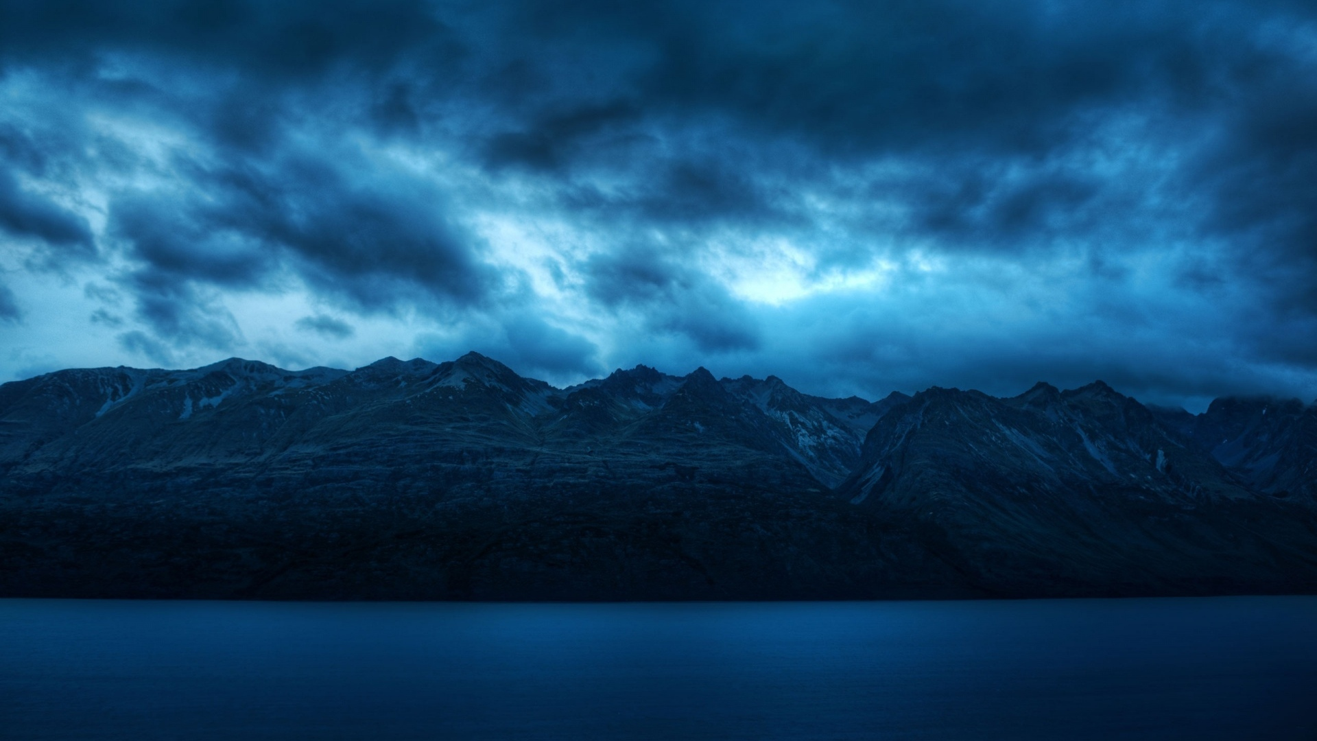 download wallpaper 1920x1080 water, blue, mountains, scenery, clouds
