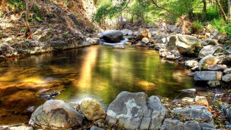 water, lake, stones