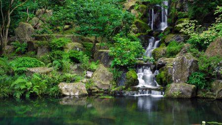 waterfall, river, grass