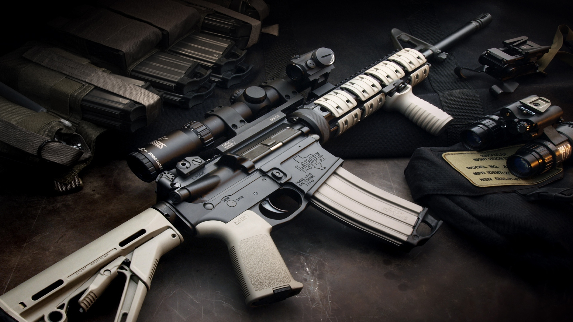 download wallpaper 1920x1080 weapons, automatic, rifle, gray