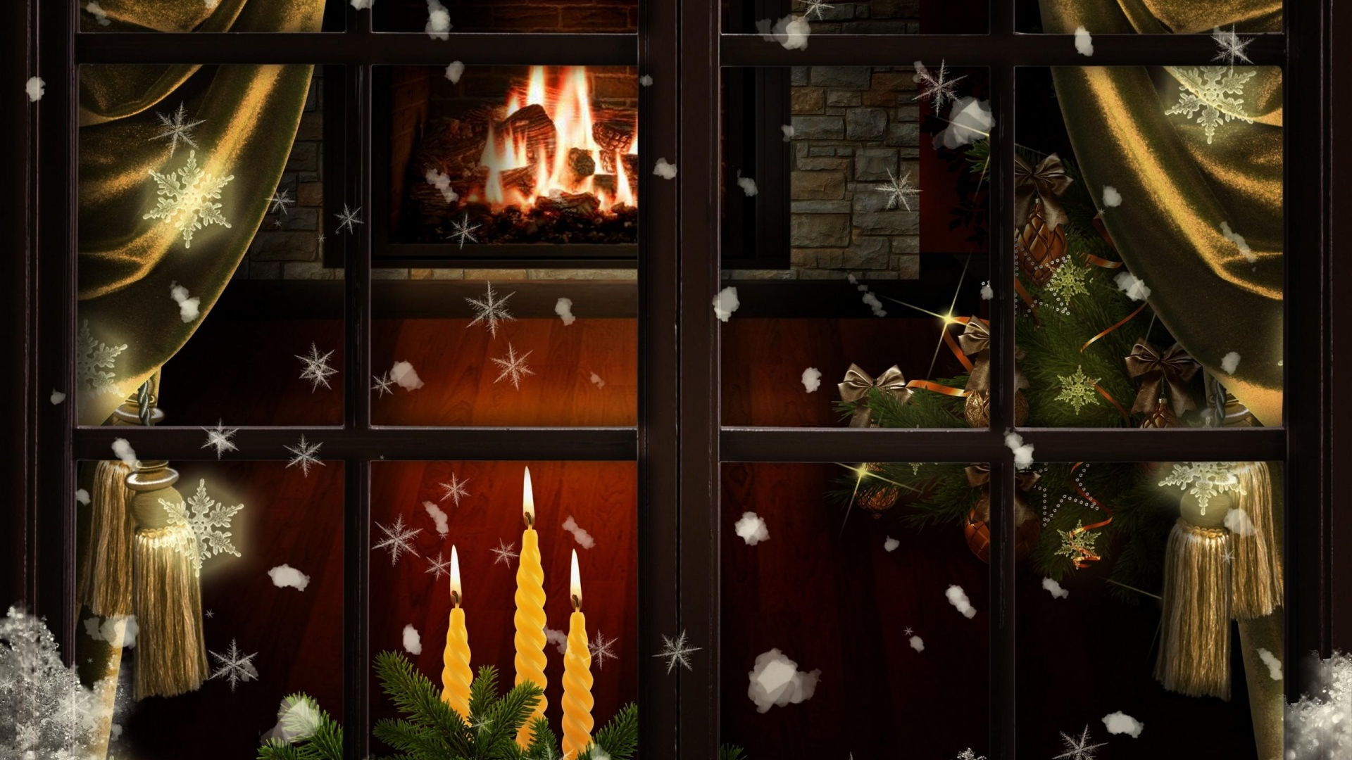download wallpaper 1920x1080 window  fireplace  candles