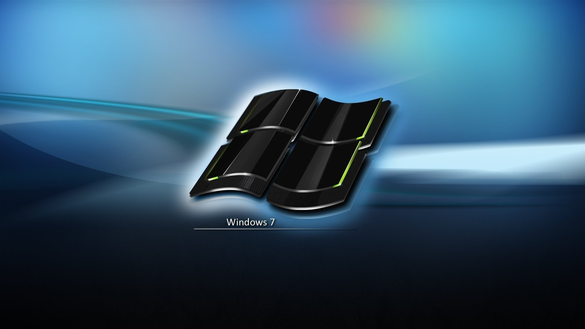 download wallpaper 1920x1080 windows 7, black, blue, icon, logo full