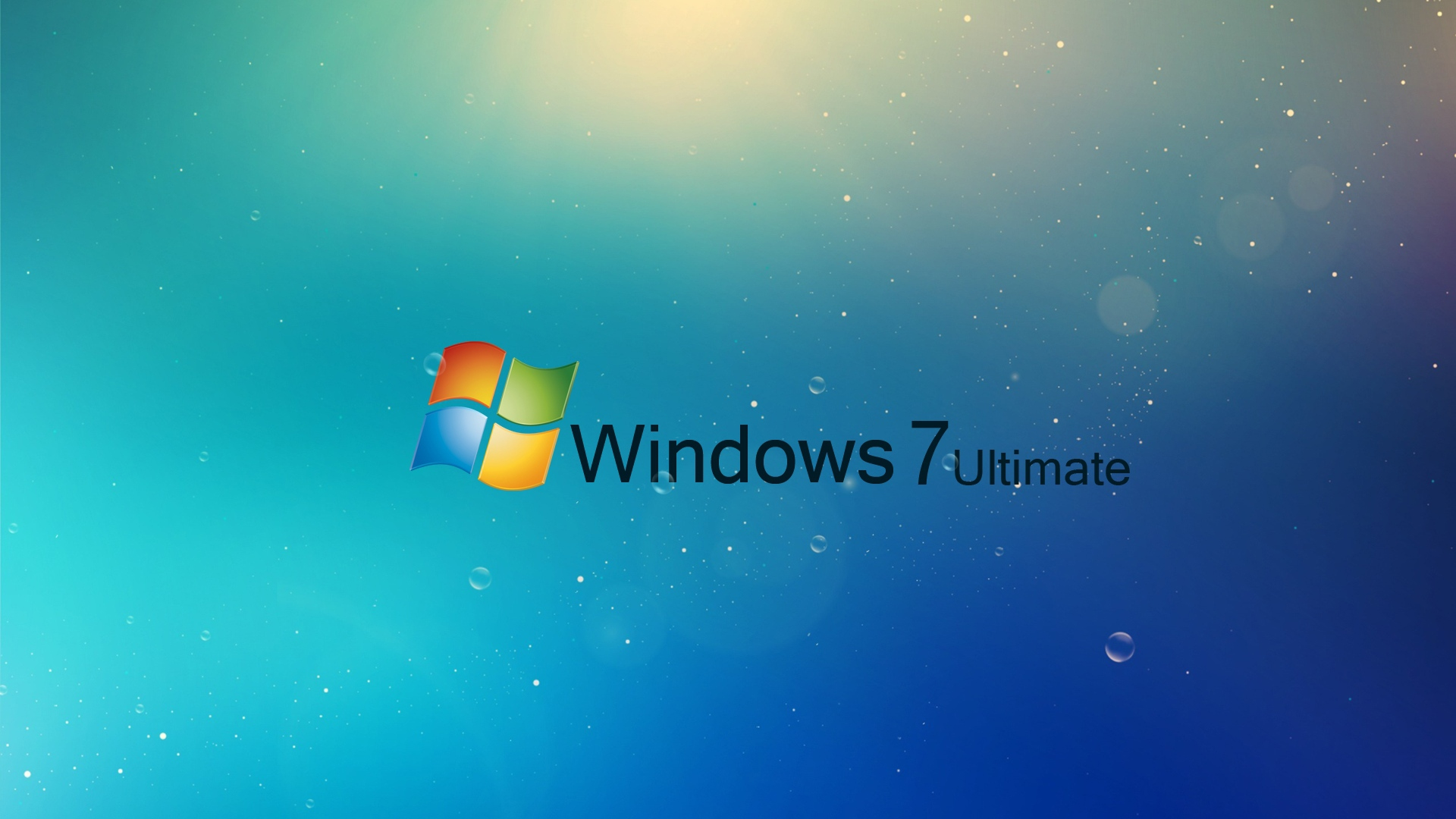 download wallpaper 1920x1080 windows 7, ultimate, blue, drops full