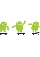 android, robot, skateboard