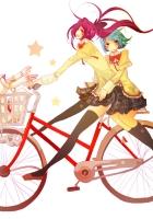 anime, girls, bike