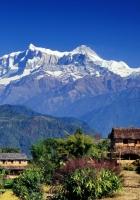 asia, mountains, houses