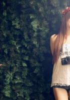 asian, girl, leaves