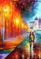 autumn, drawing, walking