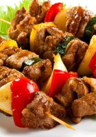 barbecue, meat skewers, vegetables
