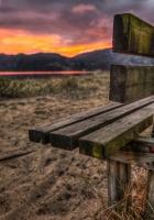 bench, sand, evening