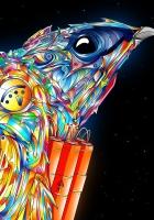 bird, paint, colorful