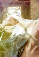 blonde, sun, face