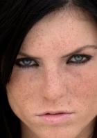 blue-eyed, brunette, freckles
