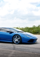 blue, road, lamborghini