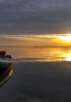 boat, decline, sun