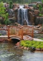 bridge, falls, garden