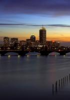 bridge, pier, evening