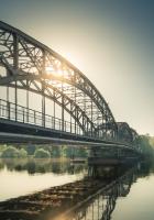 bridge, sun, morning