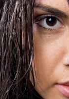 brown-eyed, brunette, wet