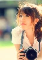brunette, asian, camera