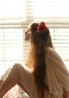 brunette, dress, window
