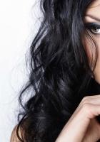 brunette, eyes, white background