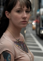 brunette, face, tattoo
