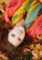 brunette, leaves, lie