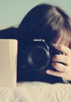 brunette, notebook, camera