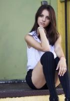 brunette, stockings, sitting