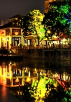 buildings, night, multicolored