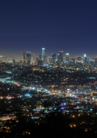 california, night, lights