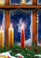 candle, box, tinsel