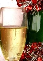 champagne glasses, bottle, tinsel