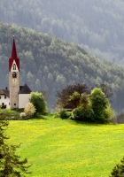 chapel, mountains, meadow