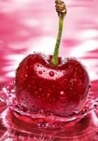 cherry, red, water