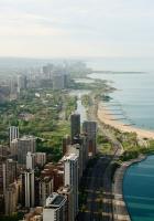 chicago, beach, skyscraper
