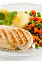 chicken, meat, potatoes