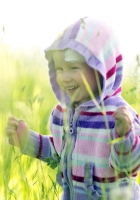 child, grass, cardigan