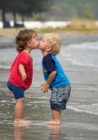 children, couple, kiss