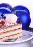 christmas decorations, cake, treat