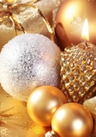 christmas decorations, candle, gold