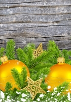 christmas decorations, pine needles, star